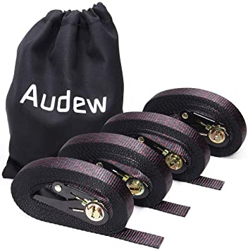 Heavy Duty Ratcheting Tiedowns Audew Ratchet Tie Down Straps 3800lb Break Strength 9 FT Ratchet Straps Cargo Straps 2 Pack