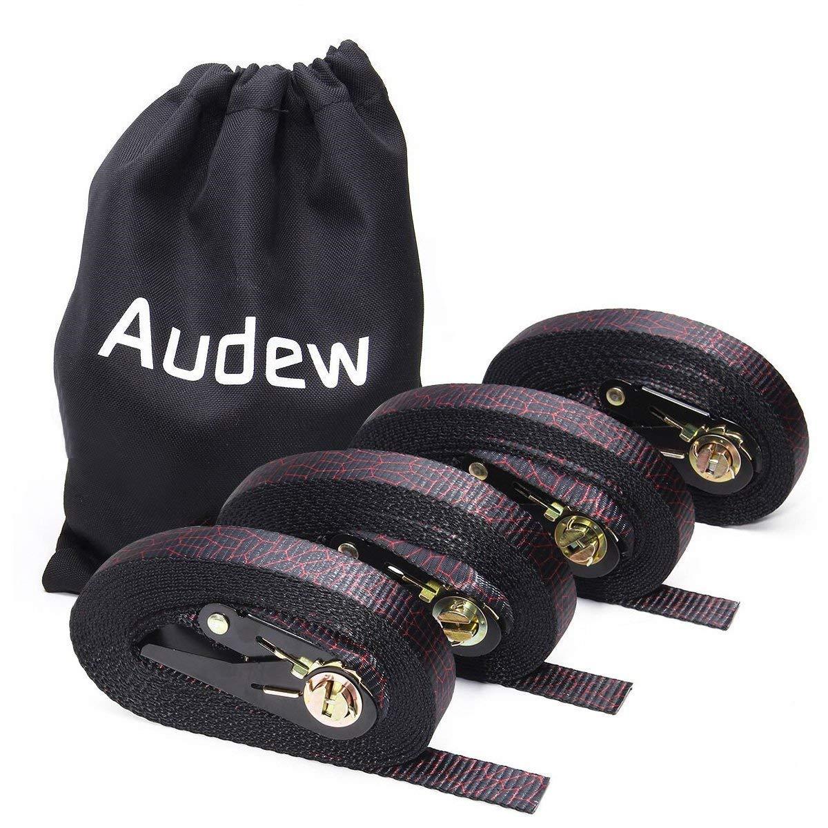 Audew Ratchet Tie Down Straps 4 Pack Ratchet Straps 20 FT-2400Lb Break Strength Cargo Straps, Heavy Duty Lashing Straps by Audew (Image #1)
