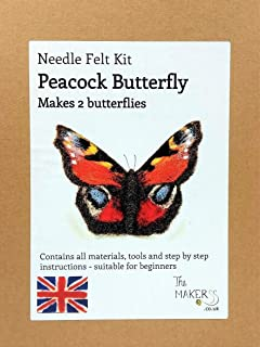 Peacock Butterfly makes 2 butterflies Needle Felting Kit by The Makerss
