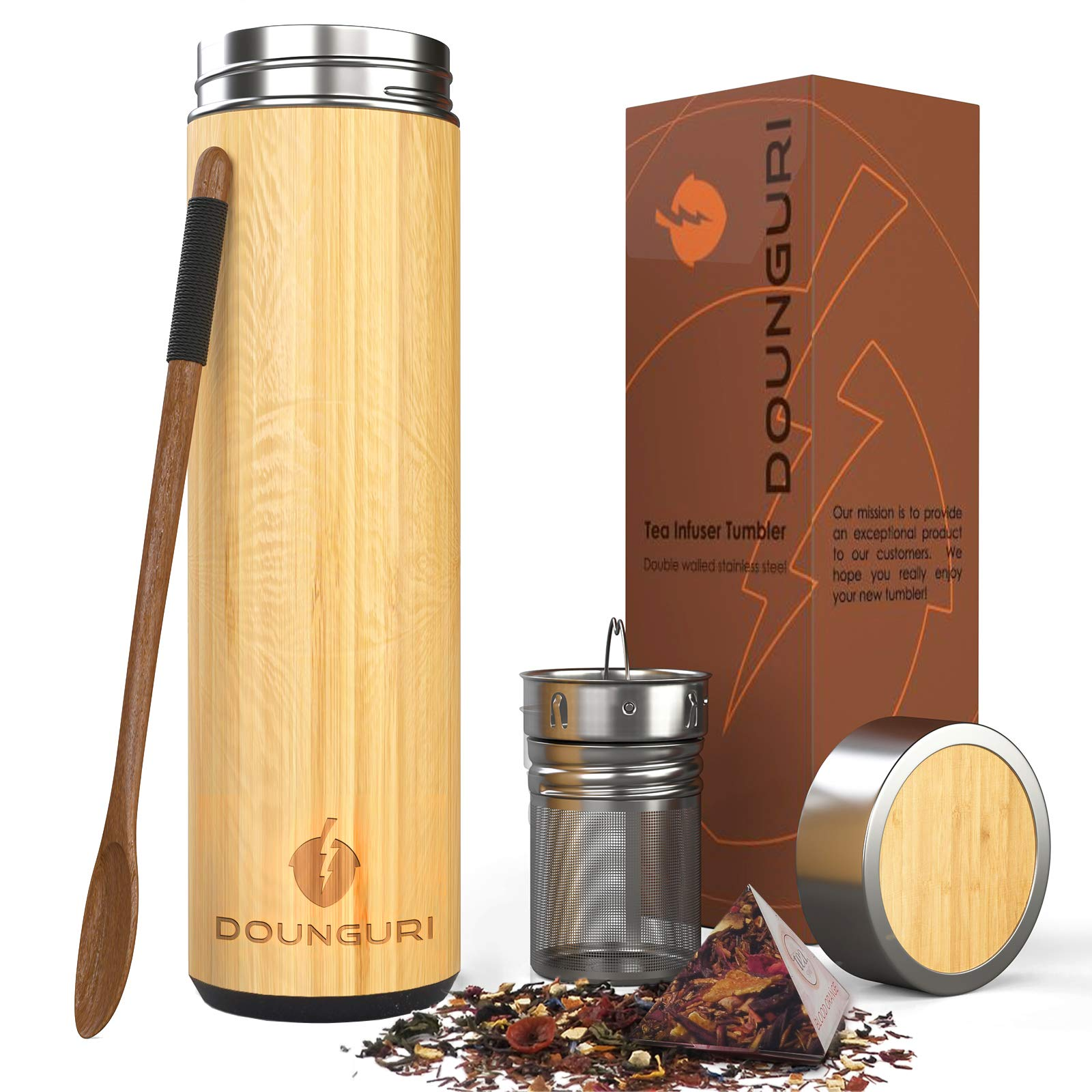 DOUNGURI Bamboo Tea Bottle Tumbler with Strainer Infuser - 14 oz. 100% Organic Bamboo Tea Thermos for Loose Leaf with Filter - Perfect Fruit Water Bottle and Travel Mug / Leak Proof