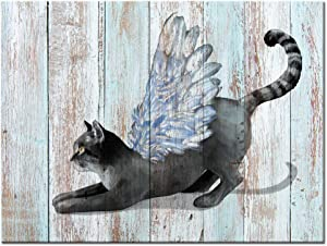 Visual Art Decor Playing Cat with Angel Wing Canvas Prints Wall Art Animals Poster Dual View Retro Wooden Textured Backgournd Picture for Home Pet Store Wall Decoration Ready to Hang (01 Cat)