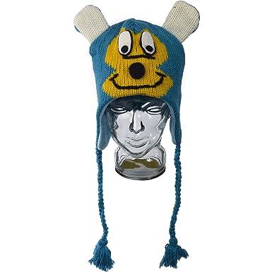 004bdb096 Handmade Blue & Yellow Mouse Character Hat 100% Wool Fun Novelty ...