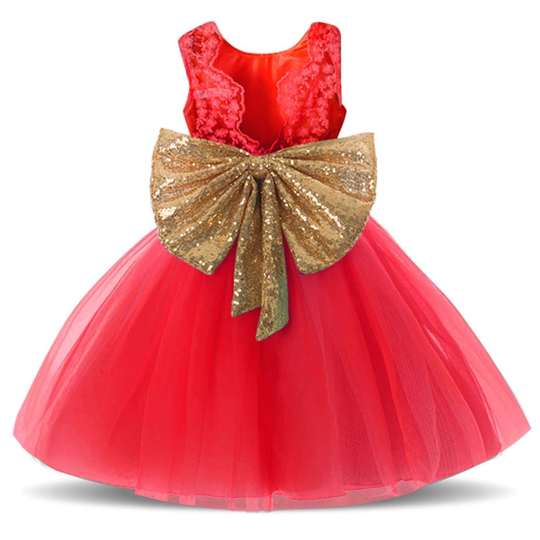 BKSKK Newborn Toddler Baby Girls Sequins Bowknot Floral Princess Flower Girl Dresses