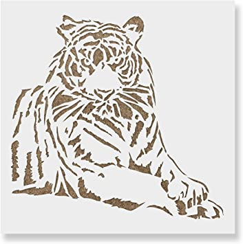 8 x 6.5 inch S Reusable African Animal Wildlife Stencils for Tiger Stencil