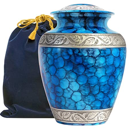 Forever Remembered Classic and Beautiful Blue Adult Cremation Urn for Human Ashes – an Elegant High Quality Large Urn with a Warm, Comforting Classy Finish to Honor Your Loved One – with Velvet Bag