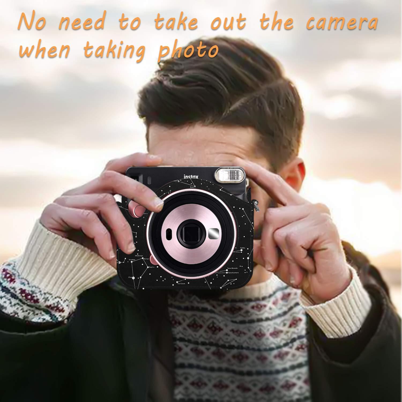 Bolsa de Cuero Sint/ético de Primera Calidad con Correa Ajustable//Desmontable Fintie Funda para Fujifilm Instax Square SQ6 C/ámara Anal/ógica Instant/ánea Mosaico