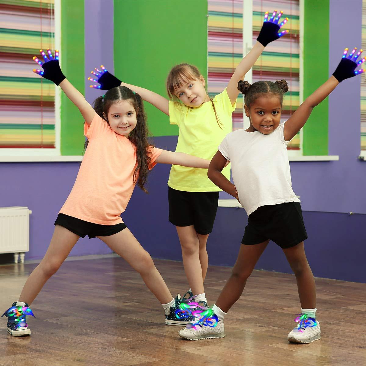 Aywewii LED Gloves for Kids Flashing Finger Light Up Gloves LED Shoelaces Set, LED Warm Gloves Kids Toys (Black)