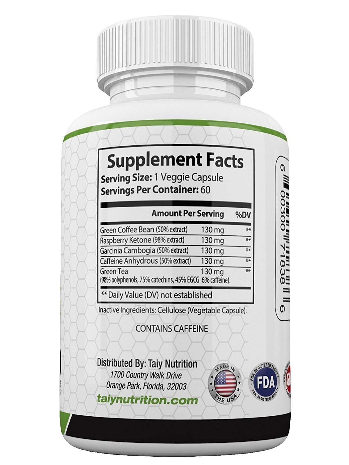Taiy Nutrition The Big 3 Extra Strength Appetite Suppressant Garcinia Cambogia Raspberry Ketones Green Coffee Bean Extract, Natural Weight Loss Pills, Super Metabolism Booster, 60 Capsules by Taiy Nutrition