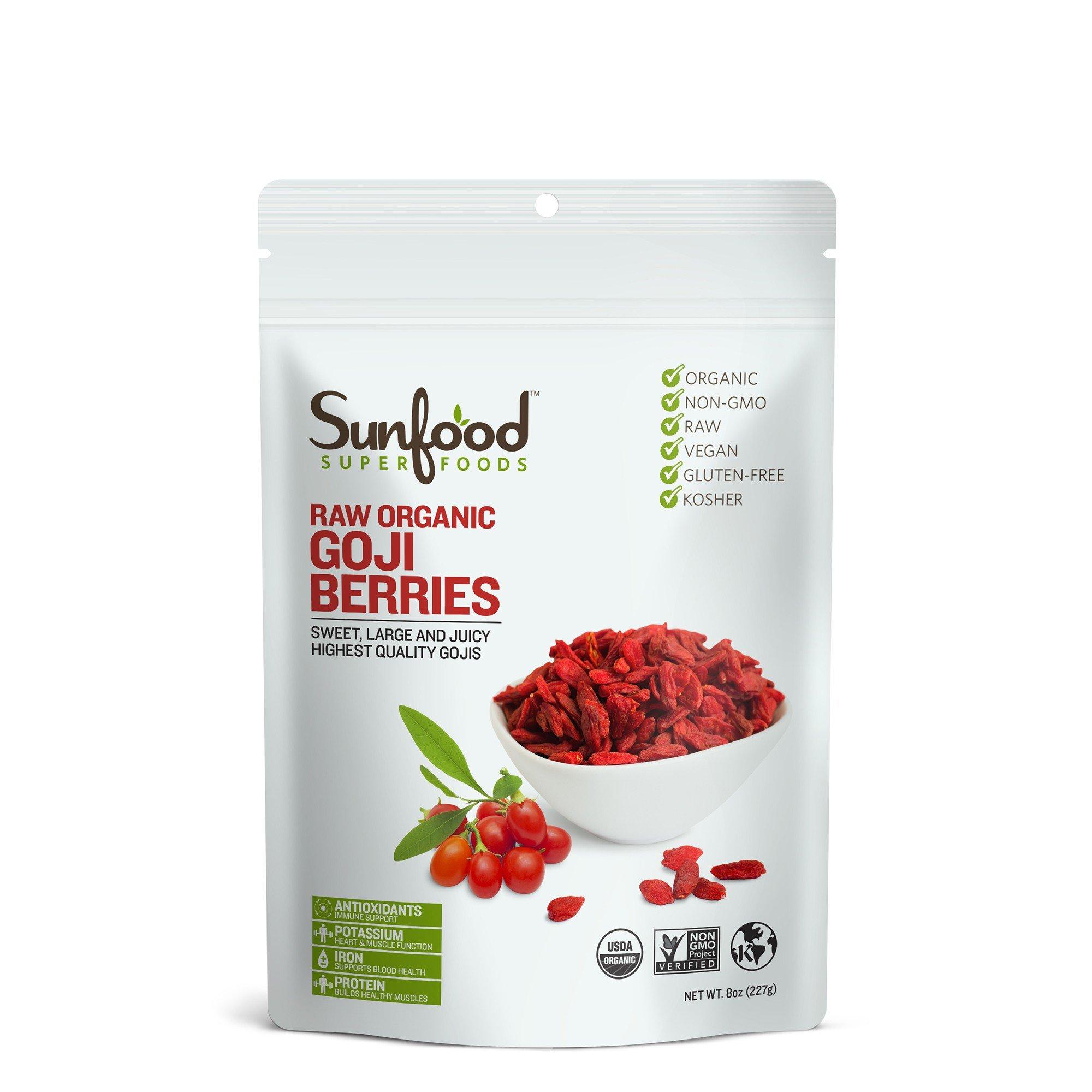 Sunfood Goji Berries, Certified Organic, Non-GMO, 8oz