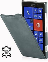 StilGut - Custodia ultra sottile in pelle per Nokia Lumia 925, Grigio invecchiato
