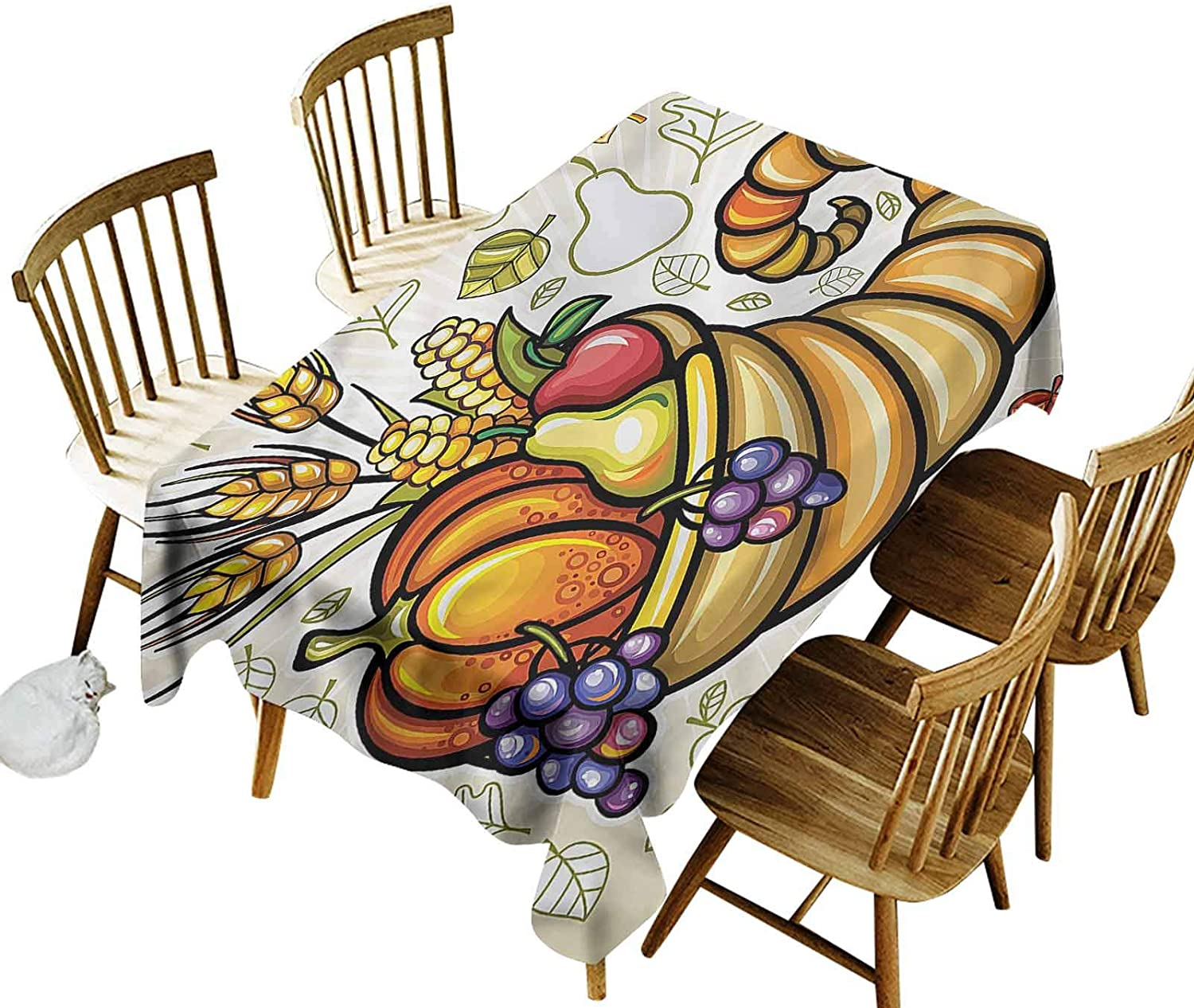 Harvest Birthday Tablecloth Cornucopia Theme Food Printed Tablecloth 60 x 90 Inch