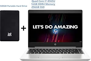 "2020 HP ProBook 440 G6 14"" FHD (1920x1080) Business Laptop (Intel Quad-Core i7-8565U, 16GB DDR4 RAM, 256GB PCIe SSD) Type-C, HDMI, RJ45, Windows 10 Pro Professional+ IST 500GB Portable Hard Drive"