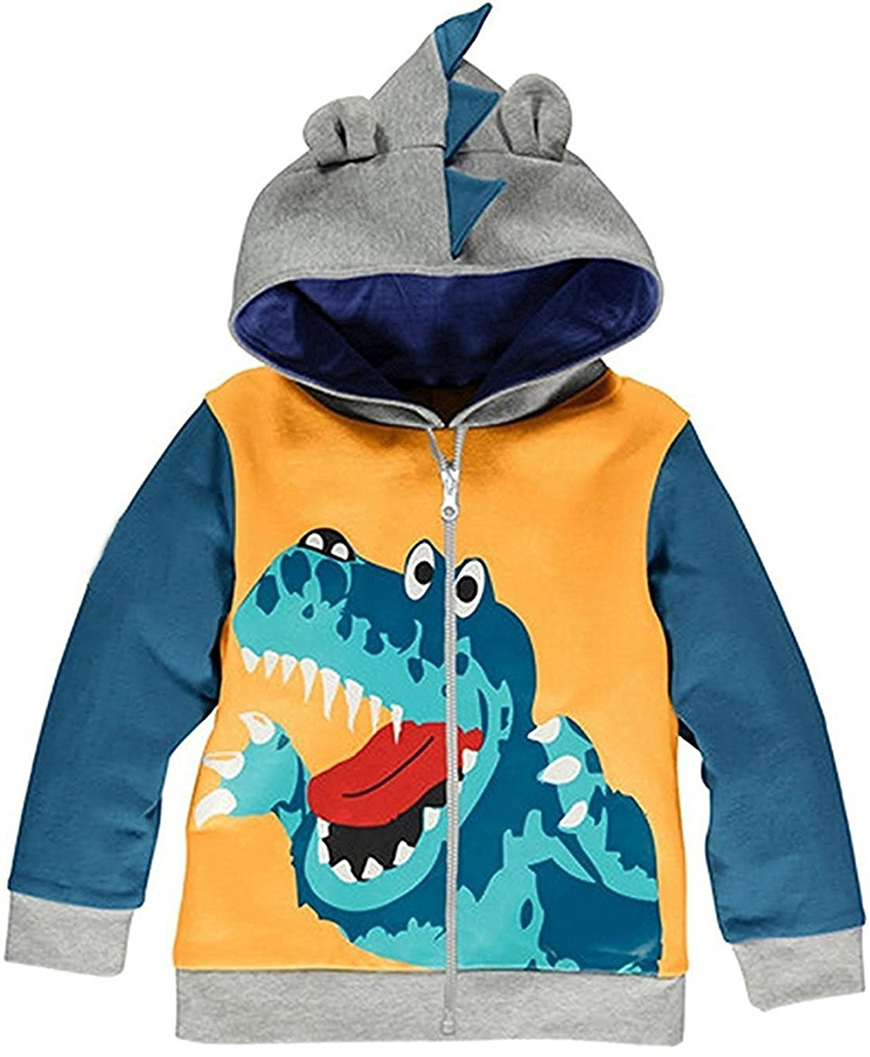 Little Boys Hoodie Zip Up Jacket Baby Dinosaur Coat Toddler Hood Outerwear