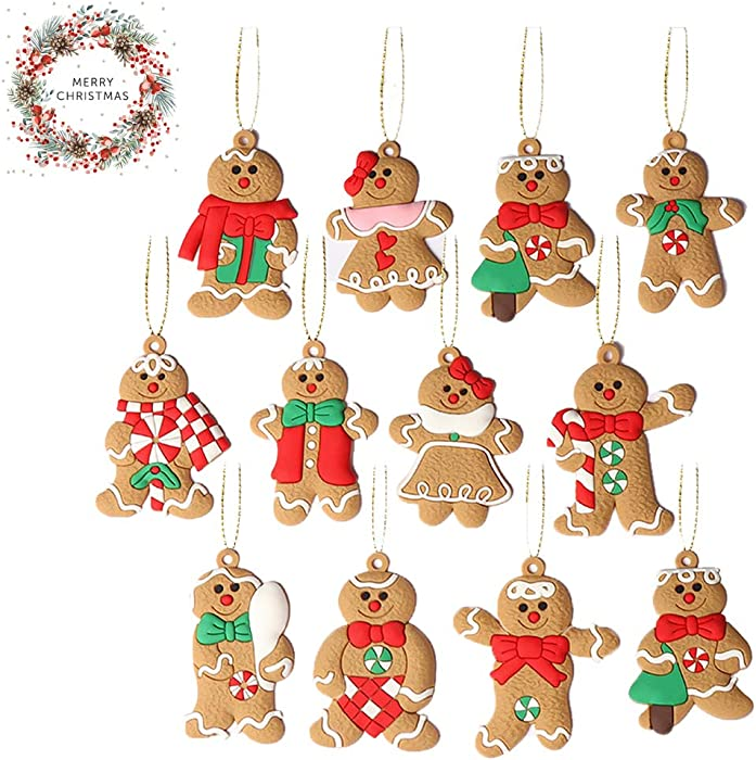 JXCH Large Gingerbread Man Ornaments Gingerbread Christmas Decor Christmas Christmas Tree Ornaments Christmas Tree Decorations Set 2020 Personalized Christmas Ornaments 2.761.97inches, Set of 12