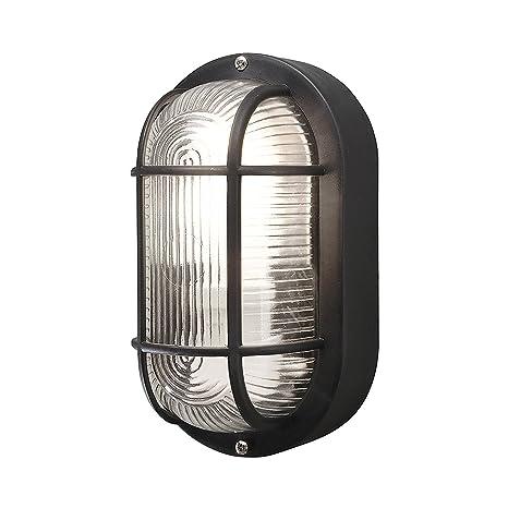 brand new 5f7d8 f5f0f Roshni & Light Metal and Glass Bulkhead Wall Light (Black)