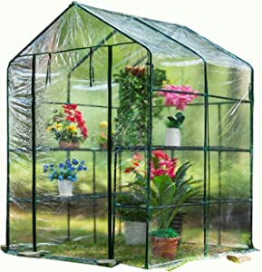 LIXHZJ Plant Greenhouse Green Houses for Outdoor, Walk-in Double Grid Antifreeze Rainproof Keep Warm Moisturizing Garden, 2 Materials (Color : Clear, Size : 143X143X195CM) Product No.:WW-22