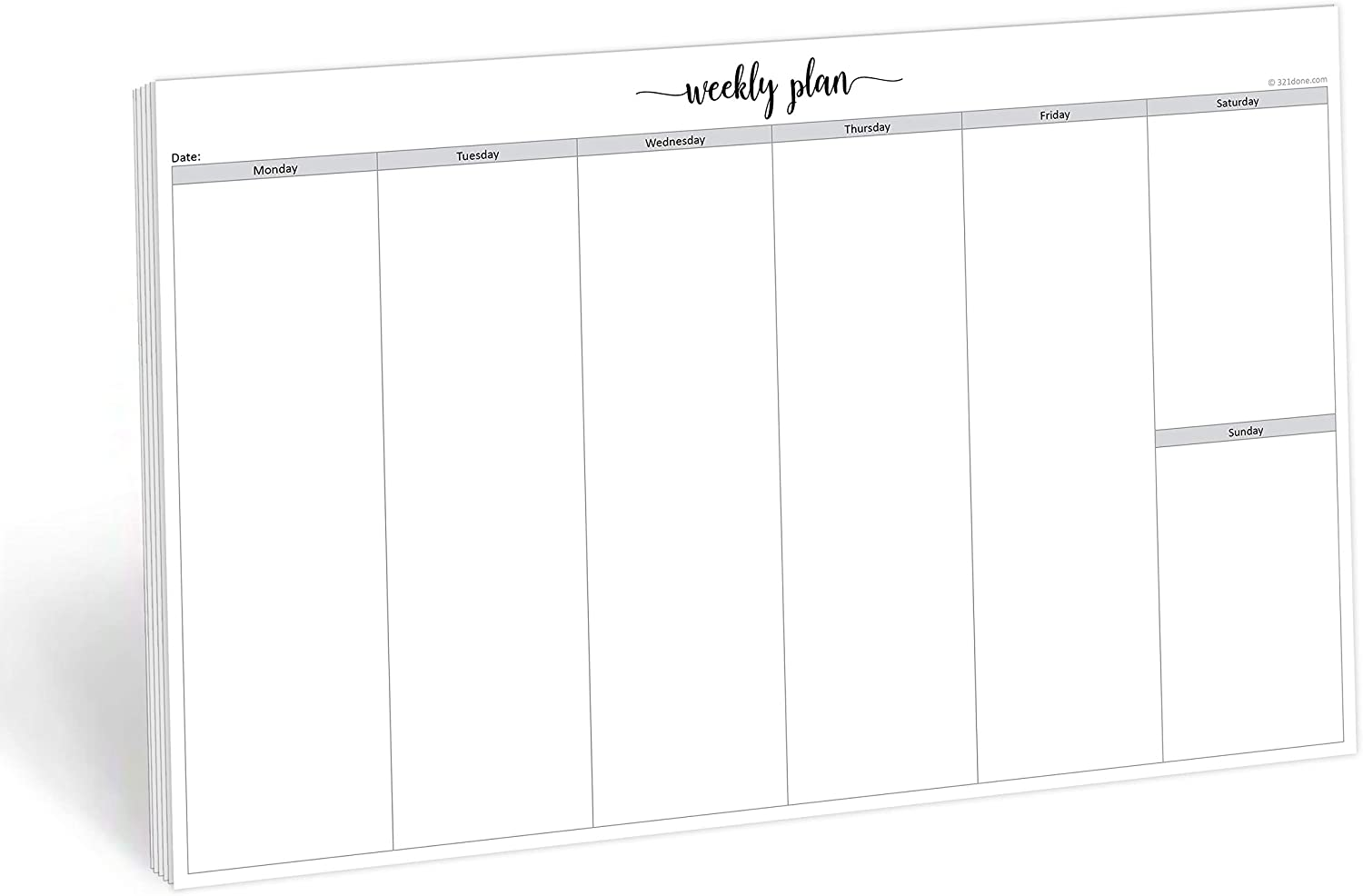 321Done Jumbo Weekly Planning Desktop Notepad - 50 Sheets (11