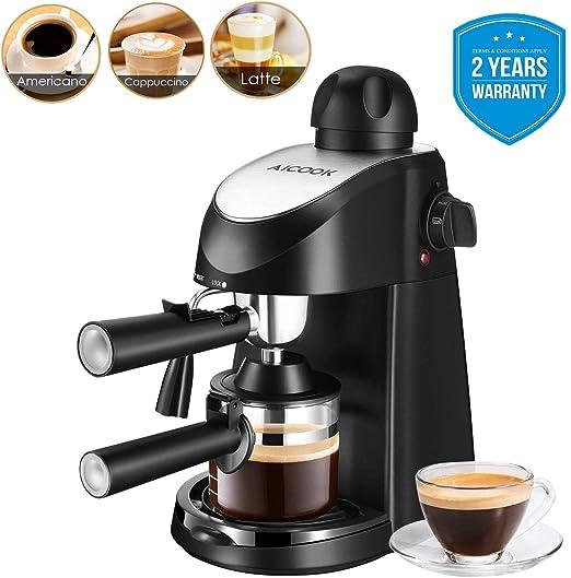 Cafetera expreso Aicook 8 bar semiautomática cafetera leche ...