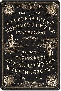 Ouija Board Aesthetic Tin Sign Vintage Retro Psychic Spirit Metal Sign Wall Plaque Art Decor for Man Cave/Garage/Bar/Pub/Club/Tavern/Cafe/Restaurant Home Decoration Gift Idea 12x8 Inch
