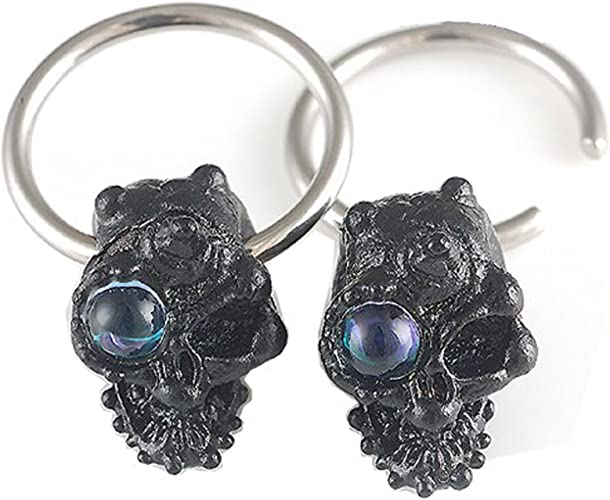 14g 9//16 Surgical Steel nipple ear plug earring closure ring bcr captive bead bar glass bronze skull Piercing 2pcs ACME