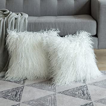 Terrific Miulee Pack Of 2 Decorative New Luxury Series Style White Faux Fur Throw Pillow Case Cushion Cover For Sofa Bedroom Car 20 X 20 Inch 50 X 50 Cm Unemploymentrelief Wooden Chair Designs For Living Room Unemploymentrelieforg