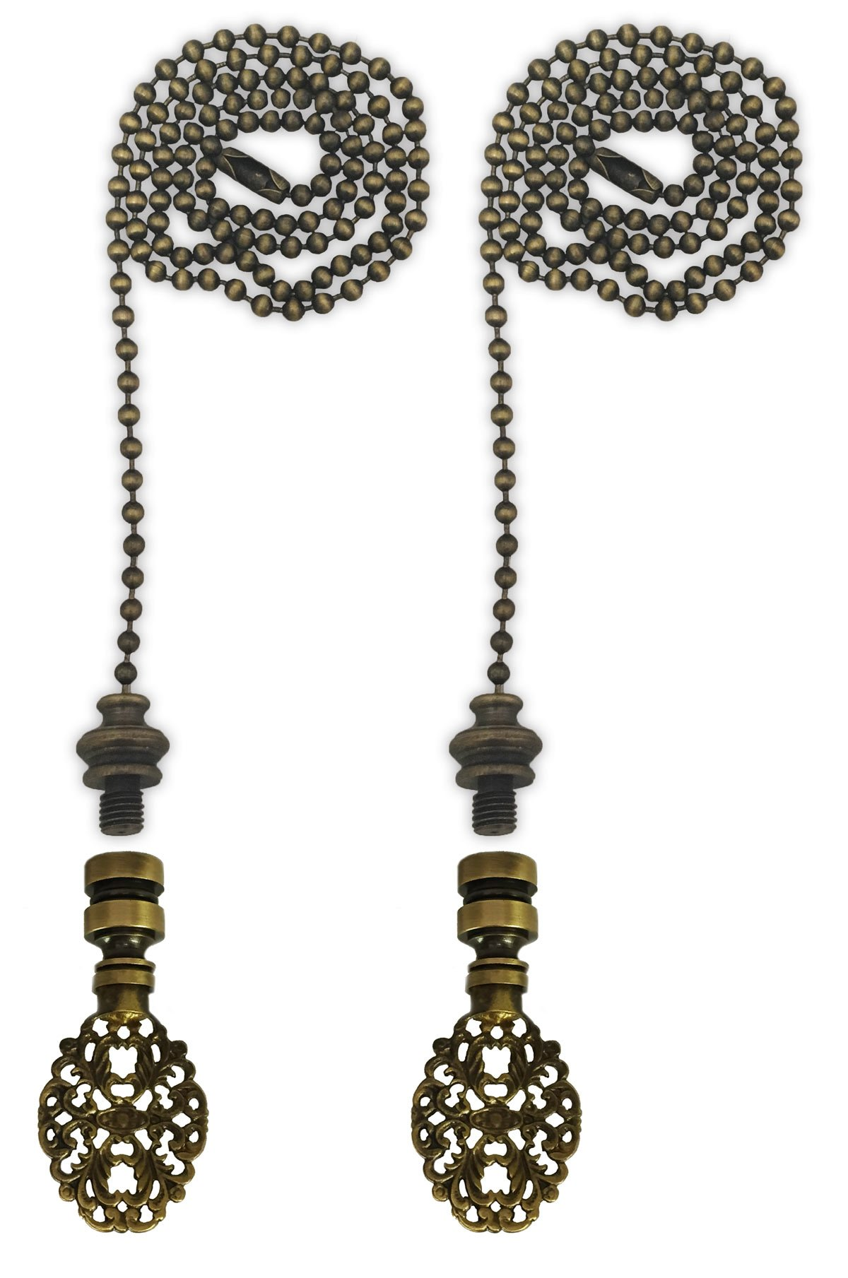 Royal Designs Fan Pull Chain with Oval Filigree Finial – Antique Brass – Set of 2