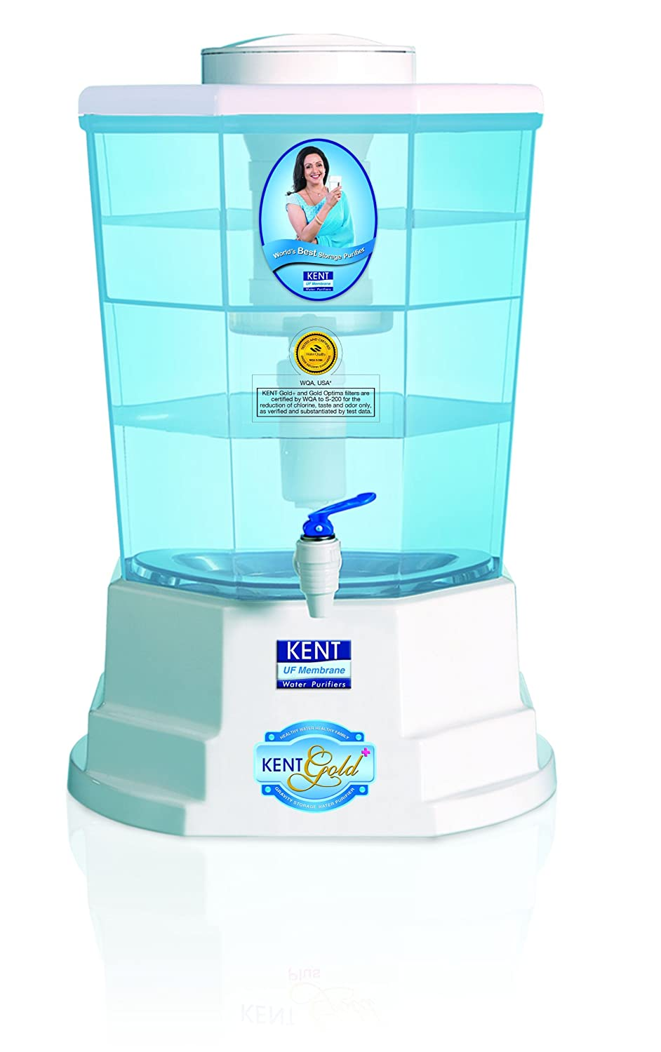 Open-Box & Refurbished (Unused) KENT Gold+ 20-litres Gravity Based Water Purifier, White and Blue kida.in