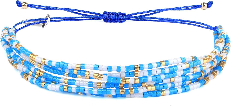 Kanyee Pulseras de Cuentas de Cristal Colgante de borlas Pulseras de múltiples Tiras Joyería de Traje