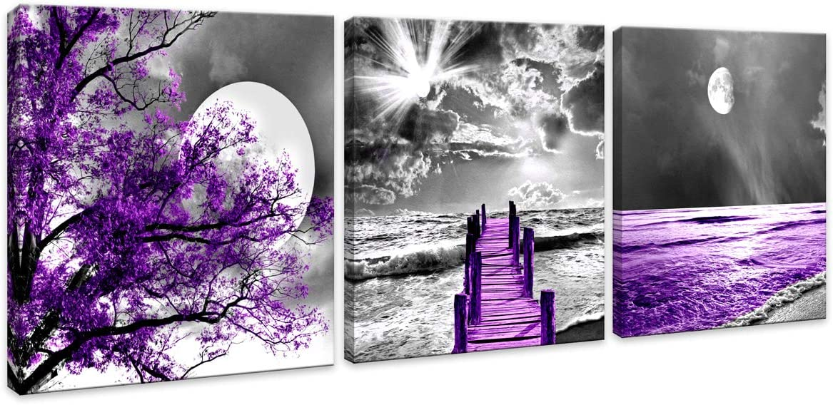 Purple Wall Art Canvas Decor Moon Landscape Canvas Wall Art Canvas printings Wall Art for Home Decor living room Bedroom kitchen Perfect 3 Panels Wall Decorations Artwork size:16X16inches