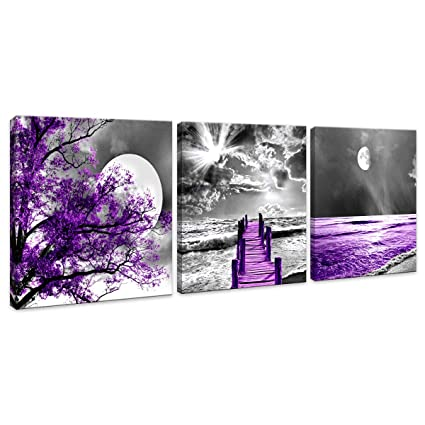 HUADAOART Purple Wall Art Canvas Decor Moon Landscape Canvas Wall Art  Canvas Printings Wall Art for Home Decor Living Room Bedroom Kitchen  Perfect 3 ...
