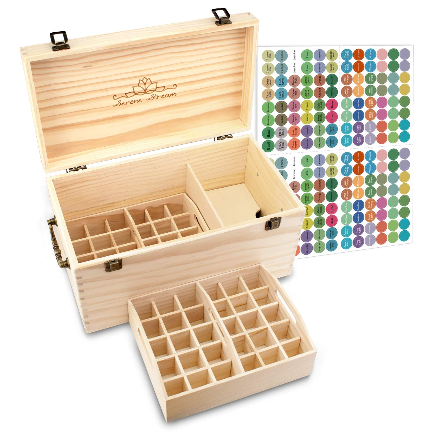 Serene Stream 64-Slot Essential Oil Storage Box - Removable Dividers - 2 Stack-able Inner Trays - Premium Solution Fits 5ml, 10ml, 15ml, 30ml Bottles, Tubes, Accessories and More EO Products