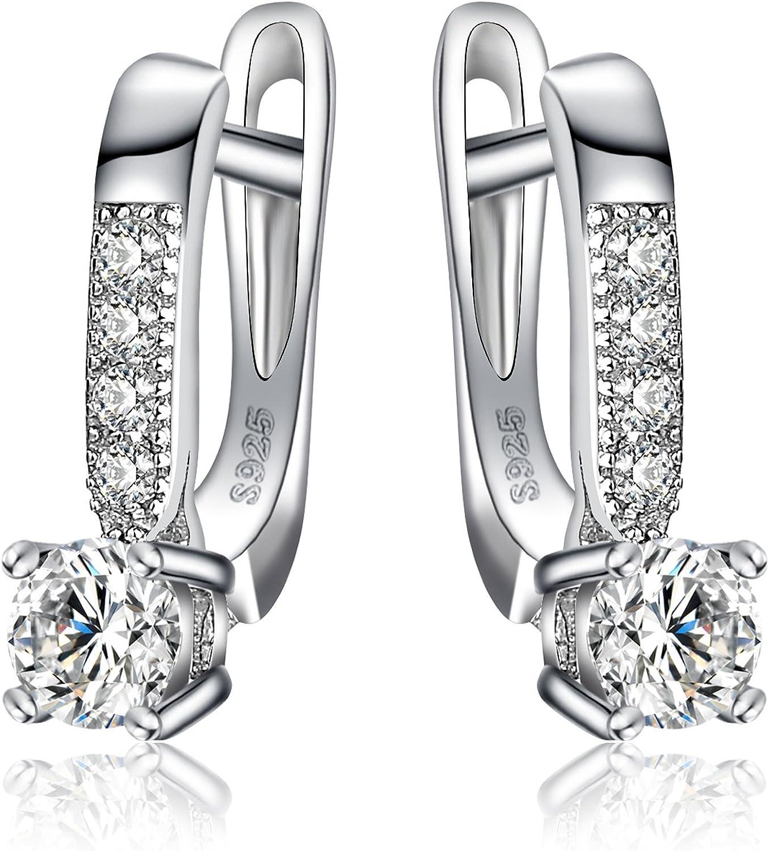 JewelryPalace 1ct Cubic Zirconia cuelgan los pendientes Plata de ley 925