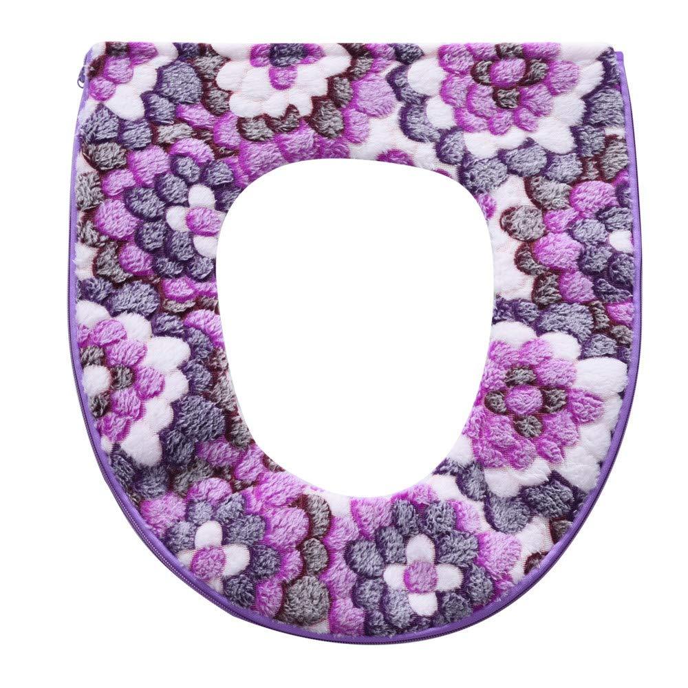 Chartsea Bathroom Warmer Toilet Seat Bowl Soft Zipper Flower Washable Lid Top Cover Pad (Purple)