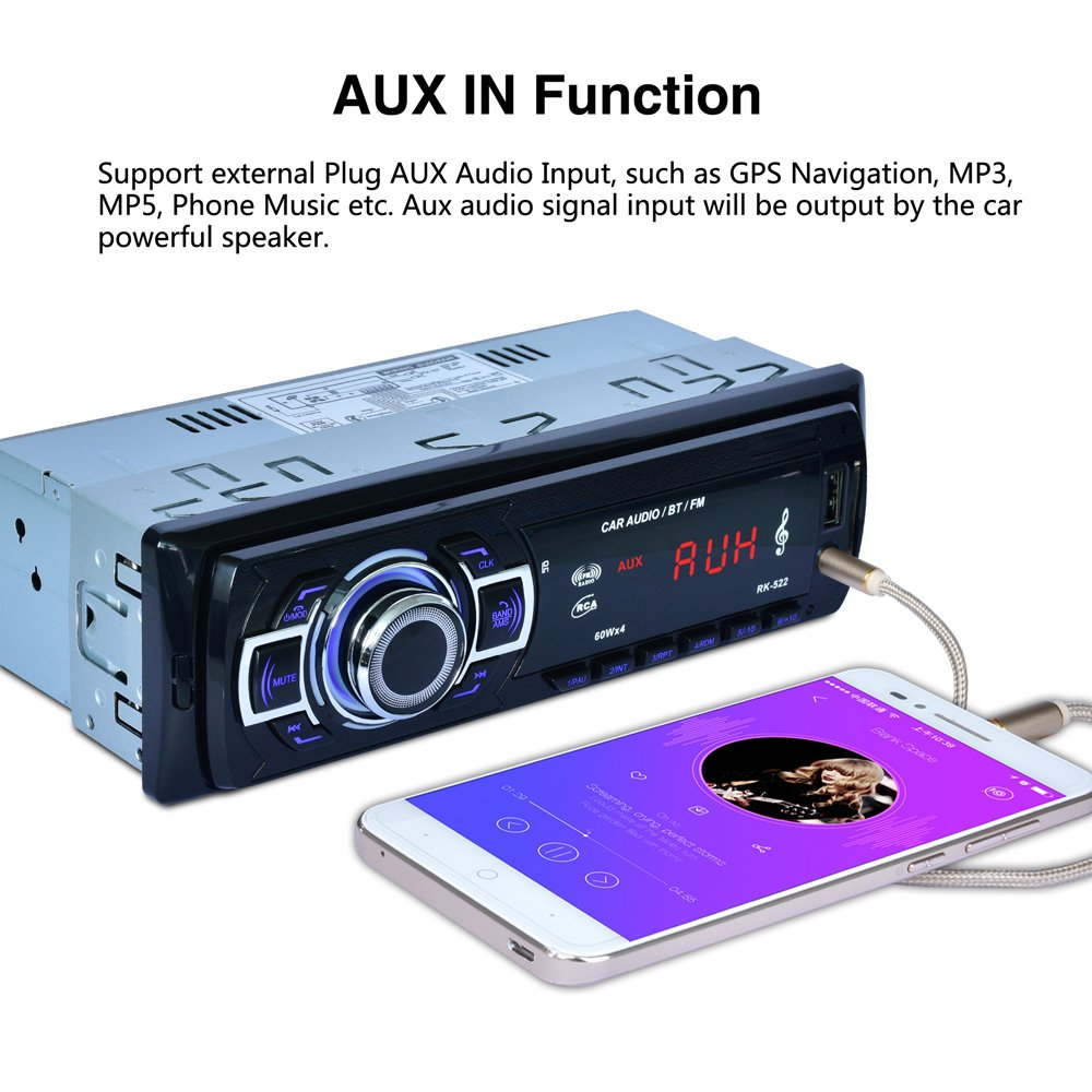POMILE Car Stereo Audio Receiver Bluetooth, Car Radio MP3 Player Single Din In-Dash USB/SD/FM/AUX/MMC with Remote Control 12V, (No CD/DVD) by POMILE (Image #7)