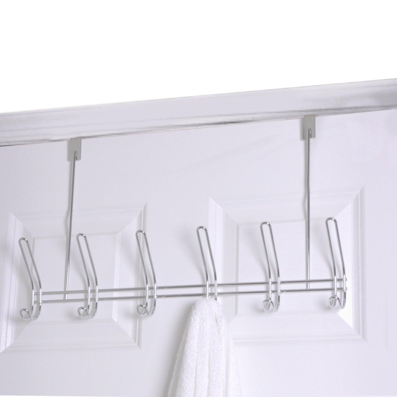 Home Basics 6 Hook Over The Door Hanger Chrome
