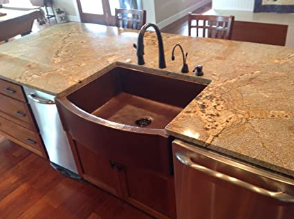 Beau 33u0026quot; Rounded Front Flat Ends Copper Farmhouse Sink