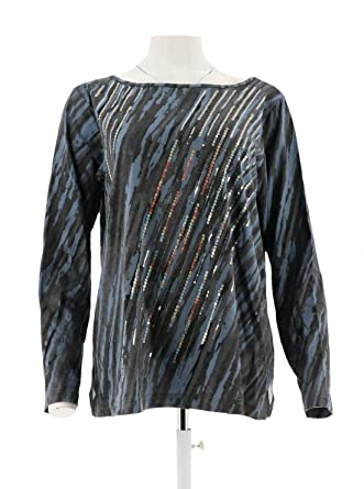 Bob Mackie Sequined Printed Pullover Top Grey M A260176 At Amazon