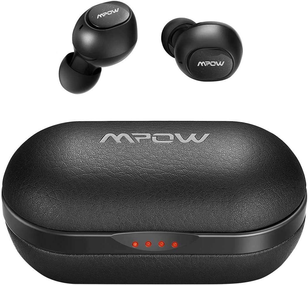 Wireless Earbuds, Mpow Bluetooth Earbuds Featured Hi-Fi Sound w Bass, IPX7 Sports Wireless Earbuds w 35 Hrs Charging Case CVC 8.0 Noise Cancelling Mic Button Control Compact Comfort Design,Black