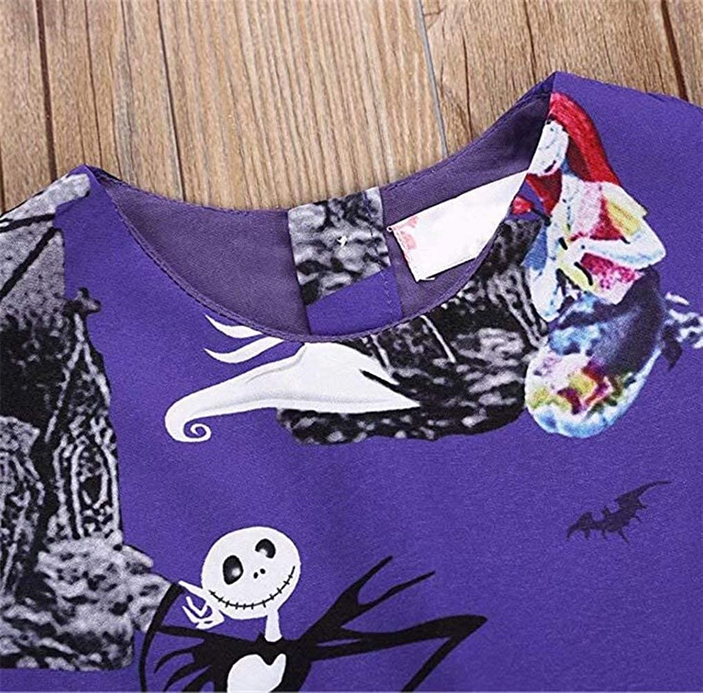 KIDDAD Toddler Baby Girls Halloween Ghost Skull Zombie Print Party Dress Sundress All Saints Day Sundress