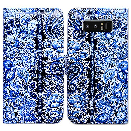 Bfun Packing Galaxy Note 8 Case,Bcov Blue Paisley Flower Card Slot Wallet Leather Cover Case For Samsung Galaxy Note 8 Blue Paisley Note