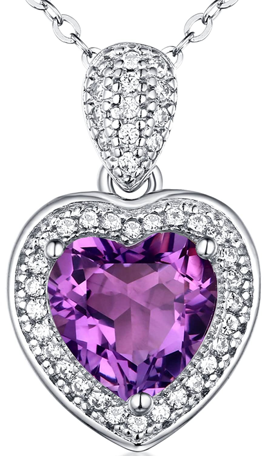 ♥Mother's Day Gift♥ Fine Jewelry for Mom Sterling Silver Natural Amethyst Gemstone Love ♥ Ocean Heart Pendant Necklace Anniversary Gifts for Her for Women