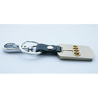 3d en métal doré Chaîne de clé de voiture Porte-clé avec Audi Cuisine & Maison