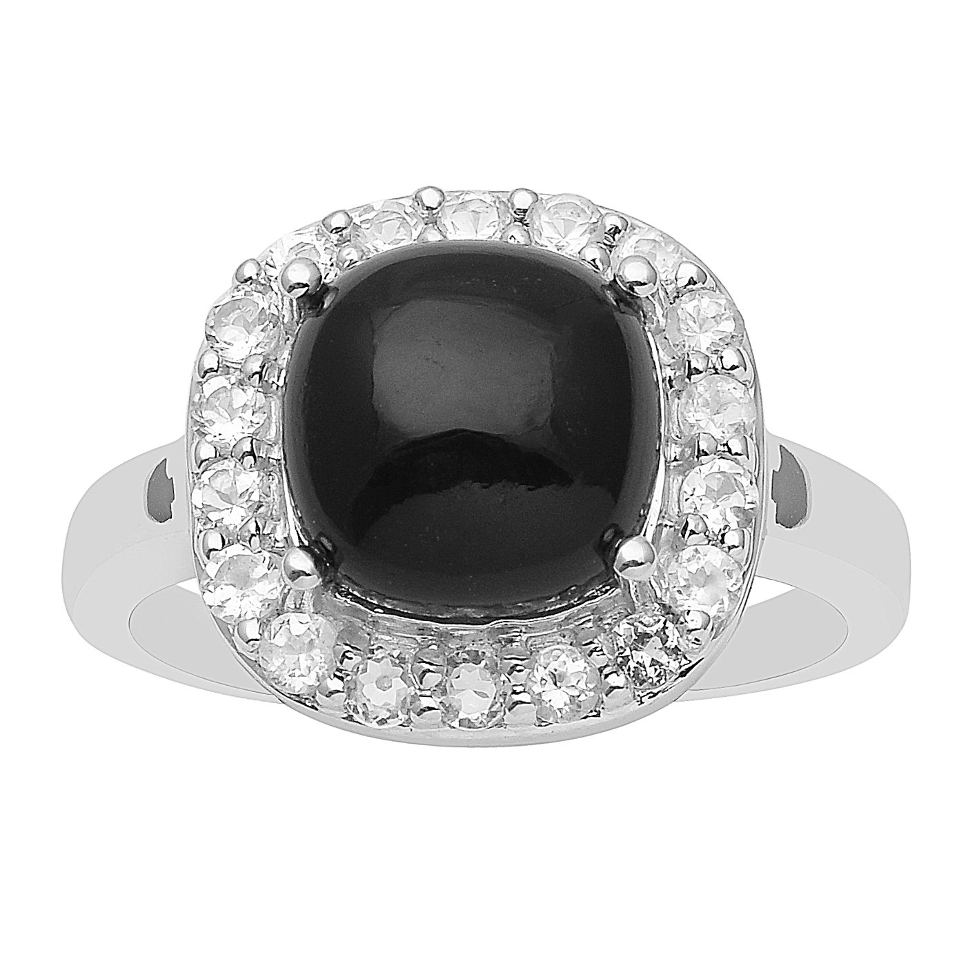 Cabochon Round Black Spinel 925 Sterling Silver Women Ring CZ Wedding Anniversary Halo Style Band (5)