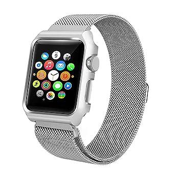 Bracelet magnétique de Rechange en Acier Inoxydable avec étui pour Apple Watch 4, 40m Montres connectées Femme: Amazon.fr: Montres