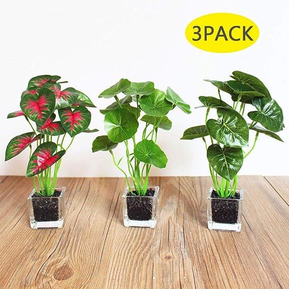 Sanqing 3 Pack Plantas Artificiales, Verde de Mesa Falsa con ...