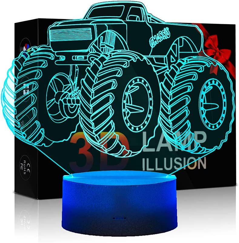 3D Lamp for Child Monster Truck Series Nightlamp Bedside Lamps 7 Colors Illusion for Child Night Light Lamps for Child Room Lamp As Gift Ideas for Boys or Kids