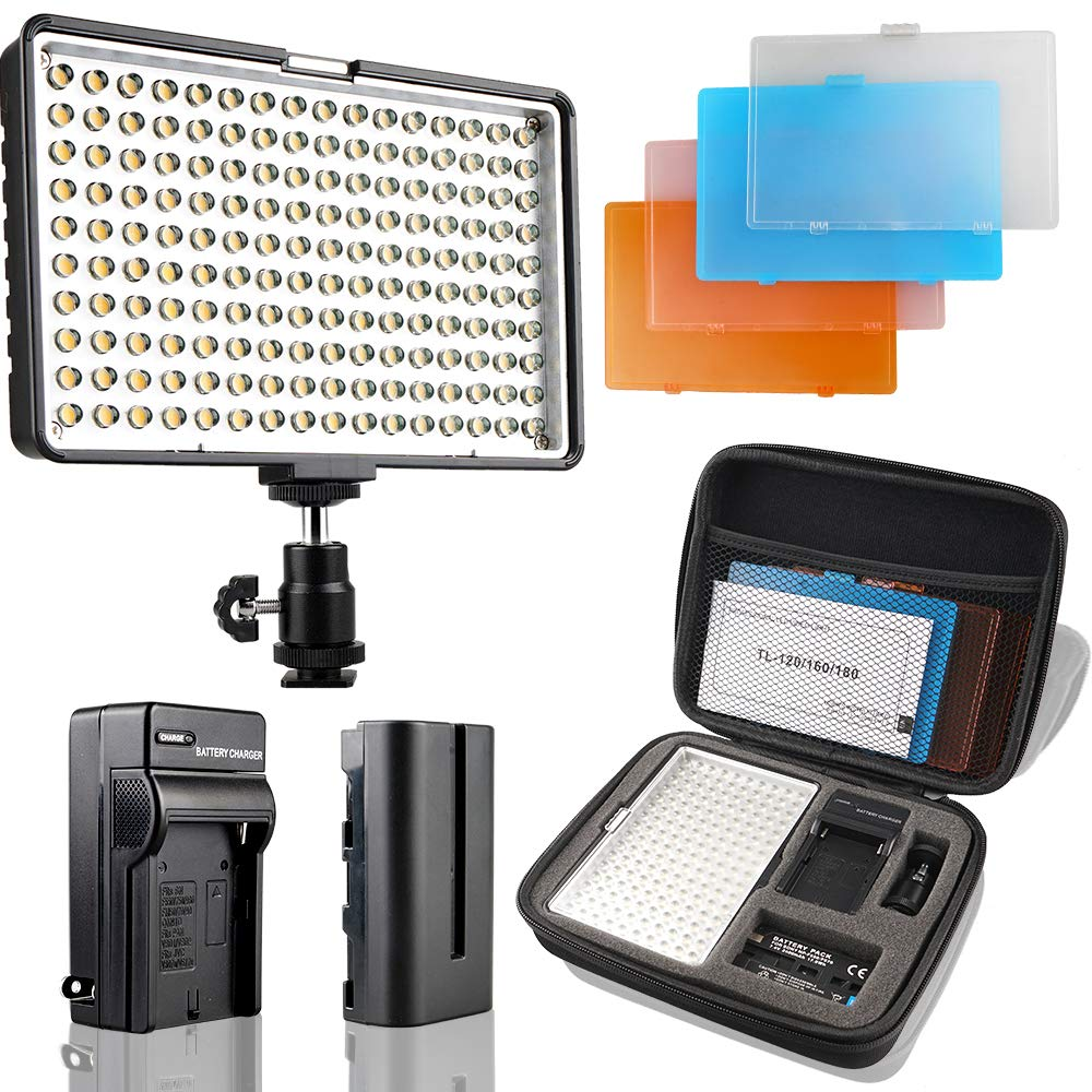 LED Camera Light/Camcorder Video Light Panel, SAMTIAN 160 LED Video Photo Light Kit, Ultra Bright Panel Light with Four Color Filters, Battery, Charger, Carry Case for All DSLR Cameras by SAMTIAN