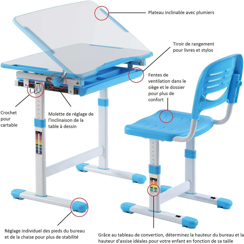 Ensemble bureau et chaise pour enfant ALUMNO table à dessin et chaise réglables en hauteur et pupitre inclinable avec rangements, structure en métal