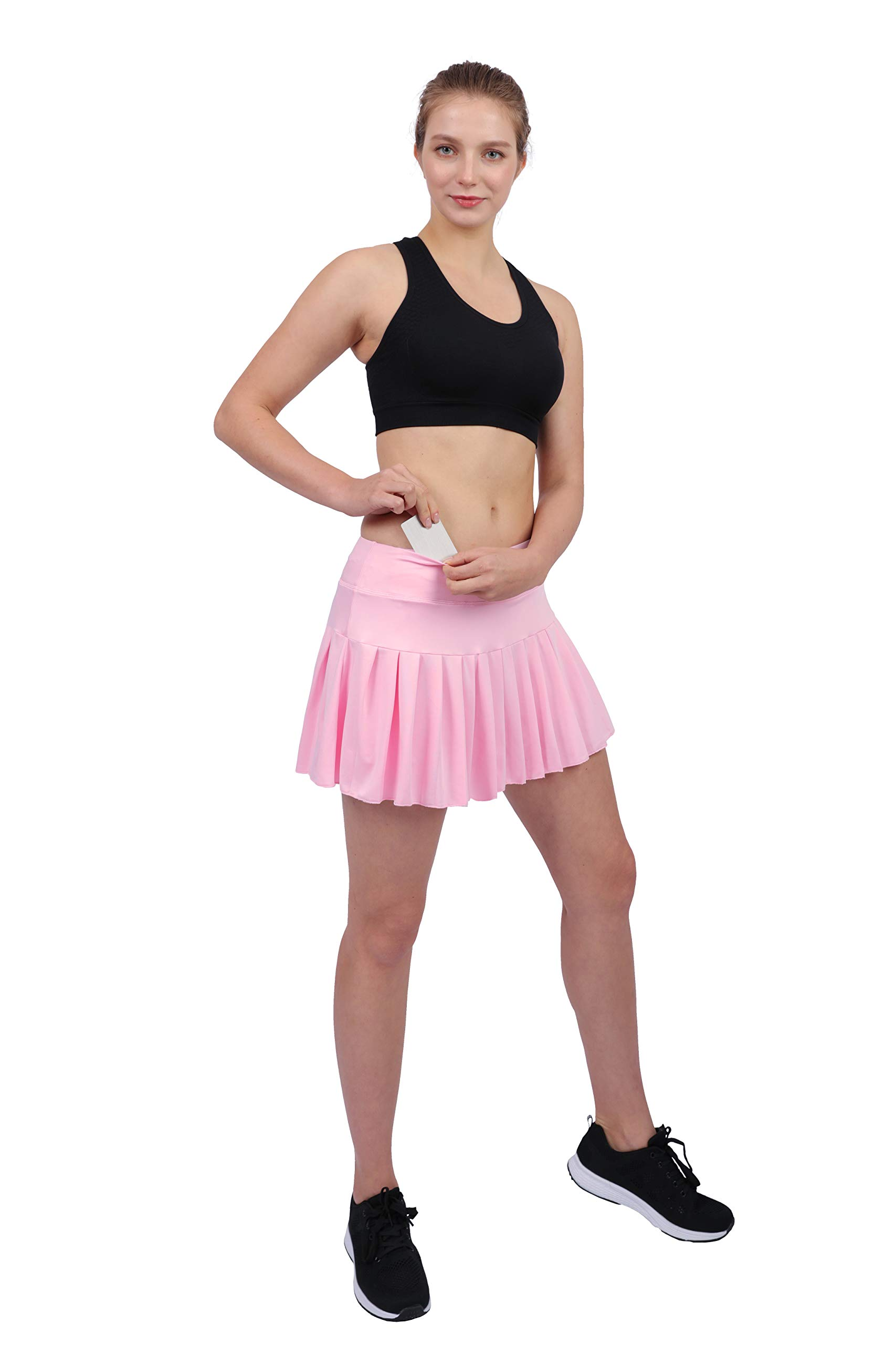 Womens Tennis Pleated Skorts Golf Workout High Waist Biult in Skirts Sports Active Wear with Pockets Light Pink by HonourSex