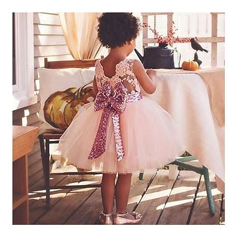 Ragazze Abito Maniche - Principessa Compleanno Festa Matrimonio Sera Pizzo  Vestito Abiti per Neonata Bambini Ragazze e48887fbe9e
